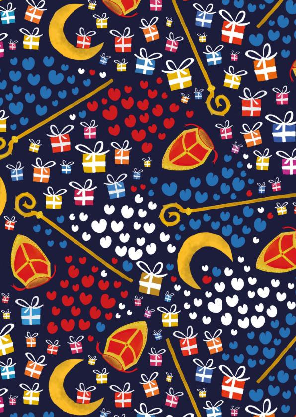 Sinterklaaskaarten - Sinterklaaskaart met kado's, mijters, staf en pompeblêden