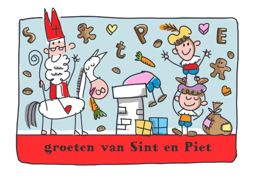 Sinterklaaskaarten - Sinterklaaskaart met sint en piet op het dak