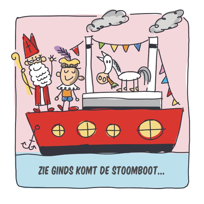 Sinterklaaskaarten - Sinterklaaskaart met stoomboot en sint en piet