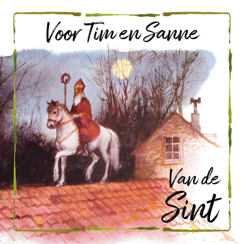 Sinterklaaskaarten - Sinterklaaskaart Schimmel op het dak