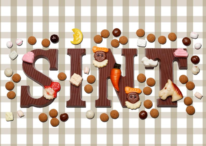Sinterklaaskaarten - Sinterklaaskaart Sint met ruitjes beige - OT
