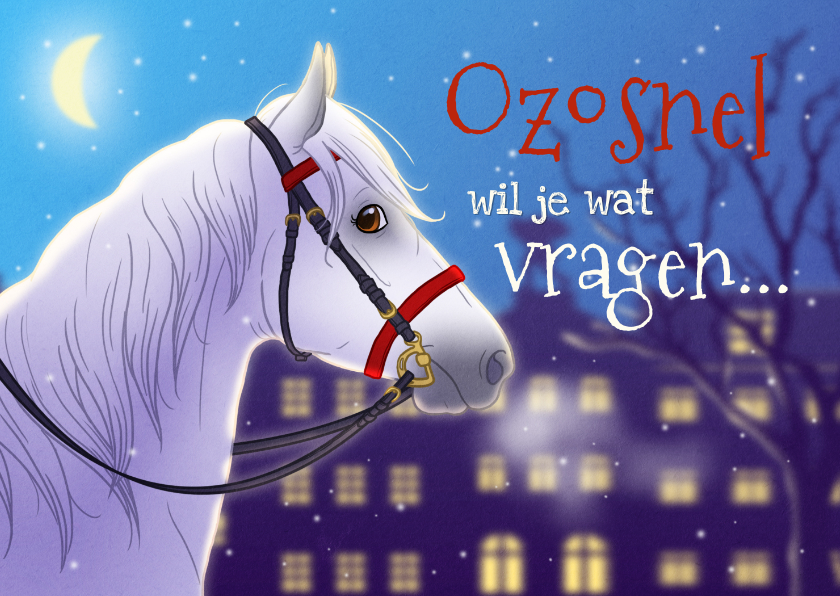 Sinterklaaskaarten - Sinterklaaskaart uitnodiging met paard