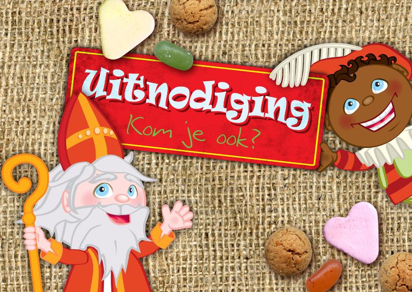 Sinterklaaskaarten - YVON Sint en Piet snoepgoed uitnodiging