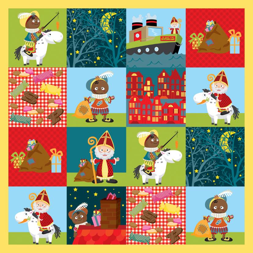 Sinterklaaskaarten - YVON sinterklaas en piet patroon 6