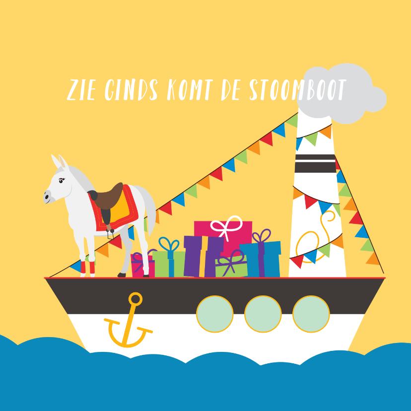 Sinterklaaskaarten - Zie ginds komt de pakjesboot van Sinterklaas
