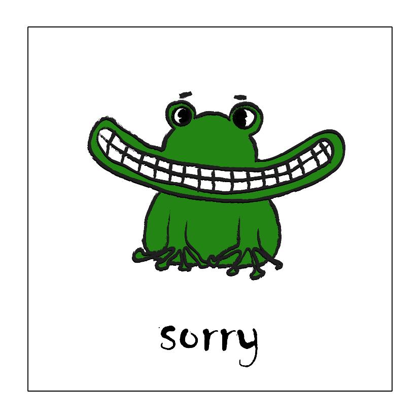 Sorry kaarten - Breedbekkikker zegt sorry