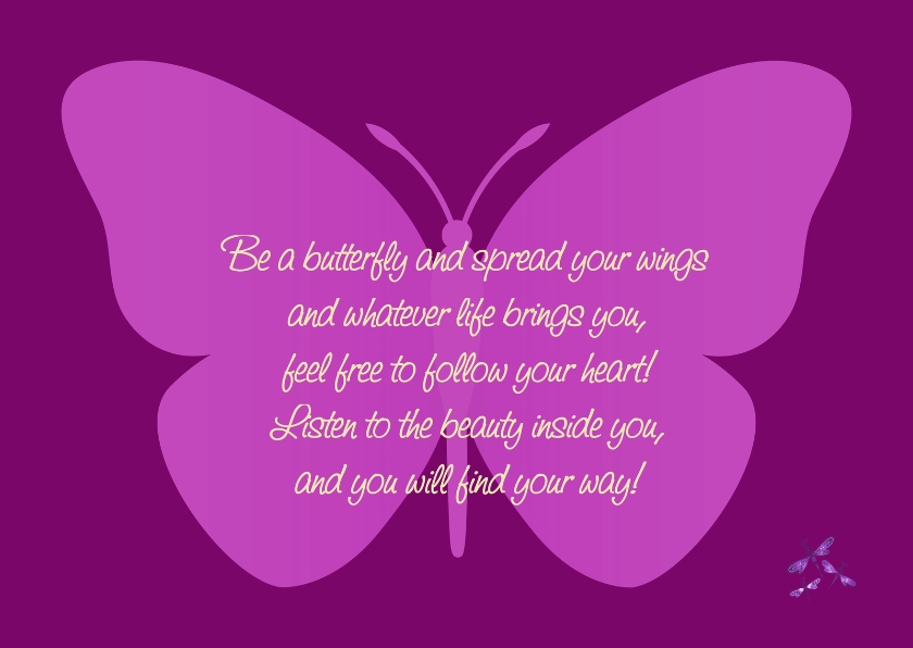 Religie kaarten - Be a butterfly