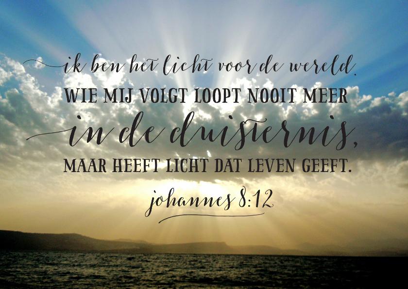 Religie kaarten - Bijbeltekst ik ben het licht