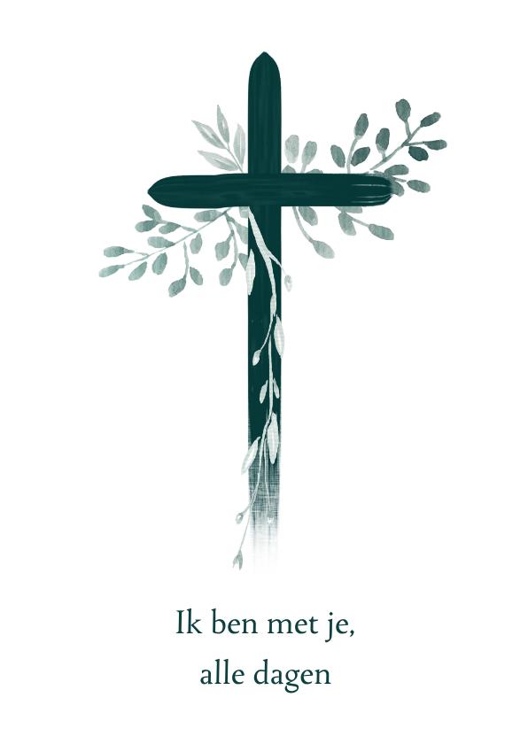 Religie kaarten - Christelijke kaart kruis met bladeren