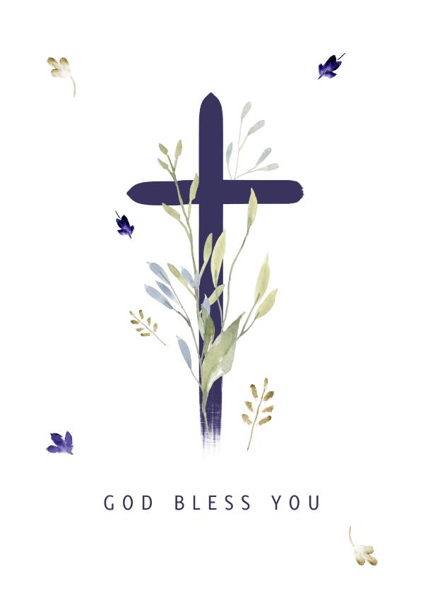 Religie kaarten - Christelijke kaart kruis met twijgjes