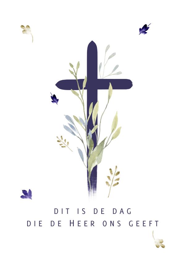 Religie kaarten - Christelijke kaart met kruis, aanpasbare (opwekkings)tekst