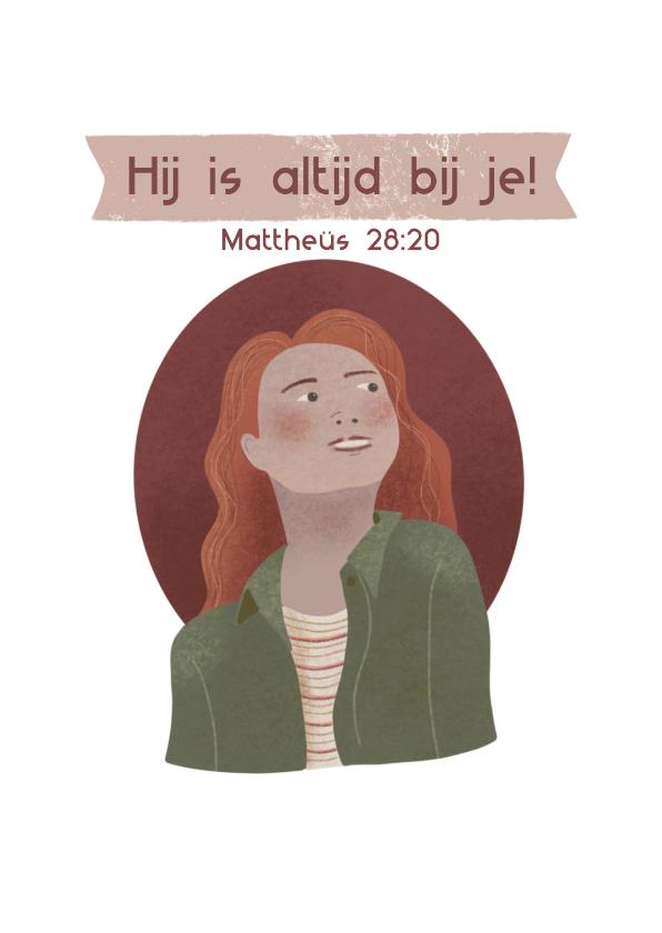 Religie kaarten - Christelijke sterkte kaart met meisje en bijbeltekst