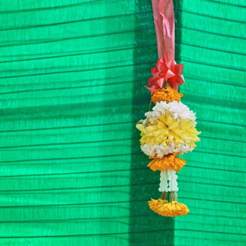 Religie kaarten - Groen met bloemenslinger