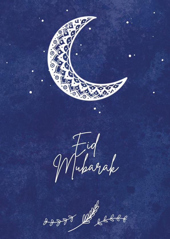 Religie kaarten - Stijlvolle religiekaart Eid Mubarak met maansikkel