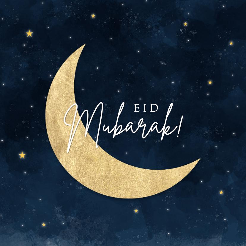 Religie kaarten - Stijlvolle religiekaart Eid Mubarak voor offerfeest met maan