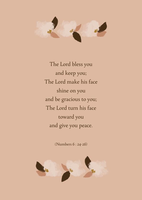 Religie kaarten - Wenskaart bloemen bijbeltekst