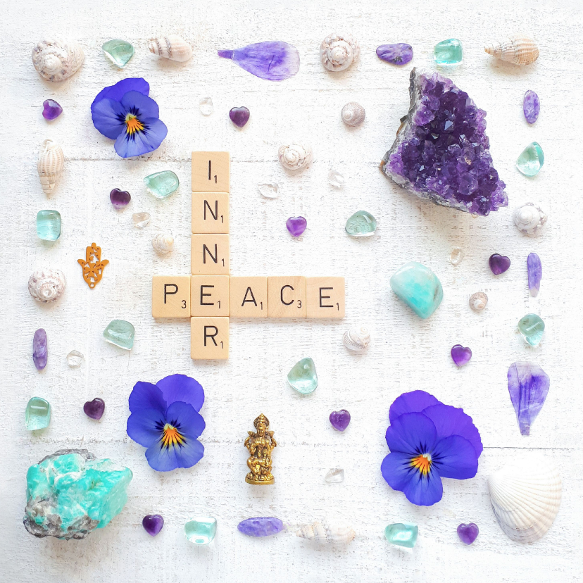 Spreukenkaarten - Spreukenkaart innerlijke rust met amethist en viooltjes