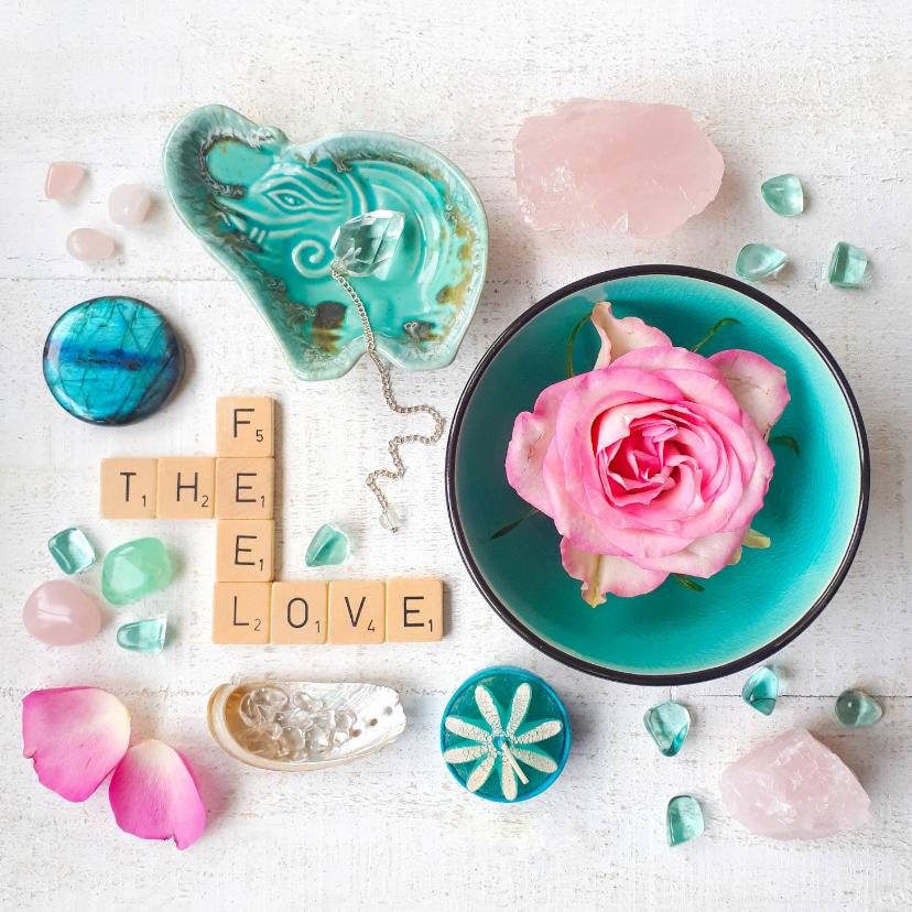 Spreukenkaarten - Vriendschapskaart feel the love met roos en edelstenen