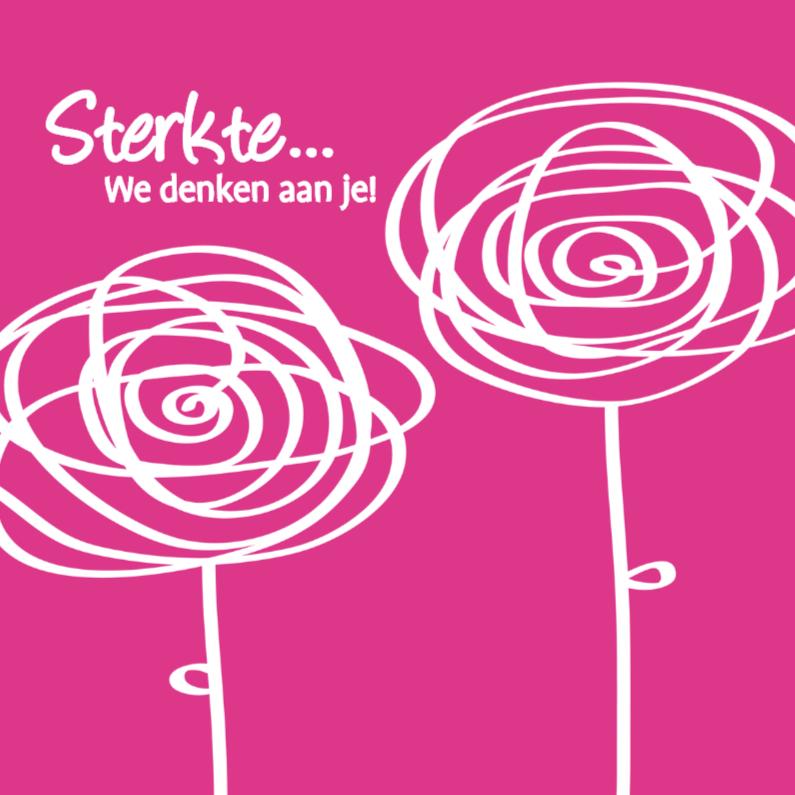 Sterkte kaarten - Bloempjes Sterkte roze