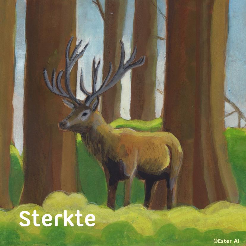 Sterkte kaarten - Edelhert in het bos