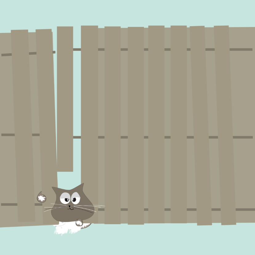Sterkte kaarten - Grappige sterkte kaart met kat klem tussen schutting