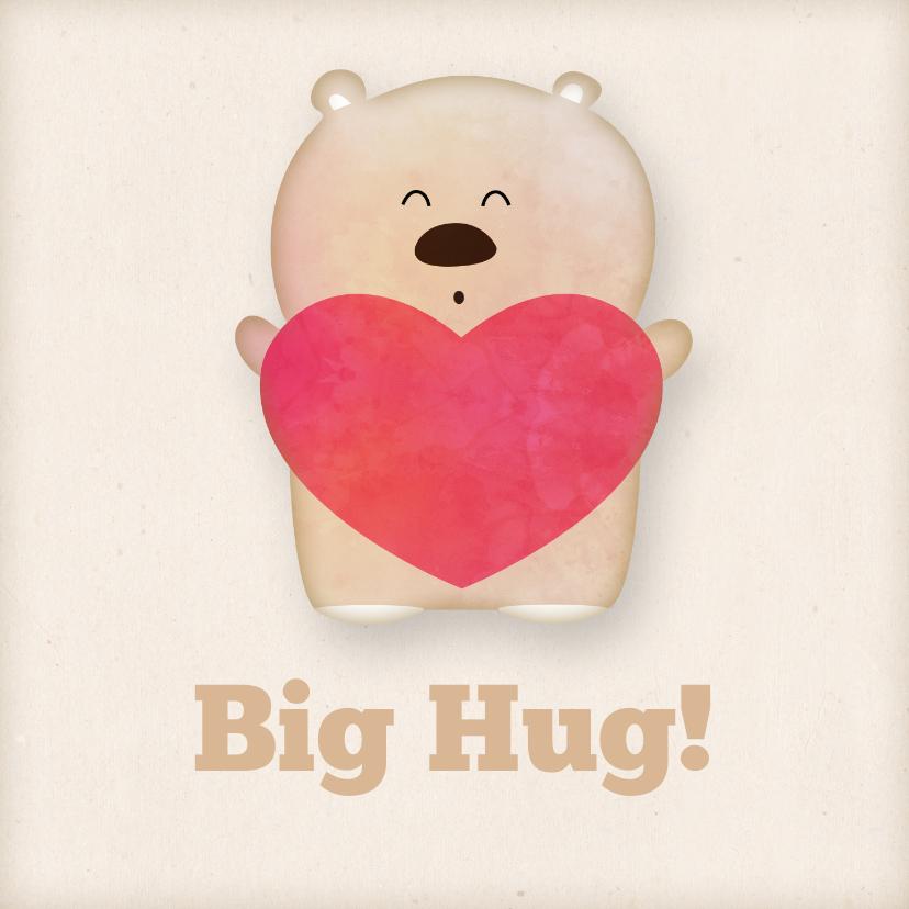 Sterkte kaarten - Knuffelkaart met beer en een hart big hug!