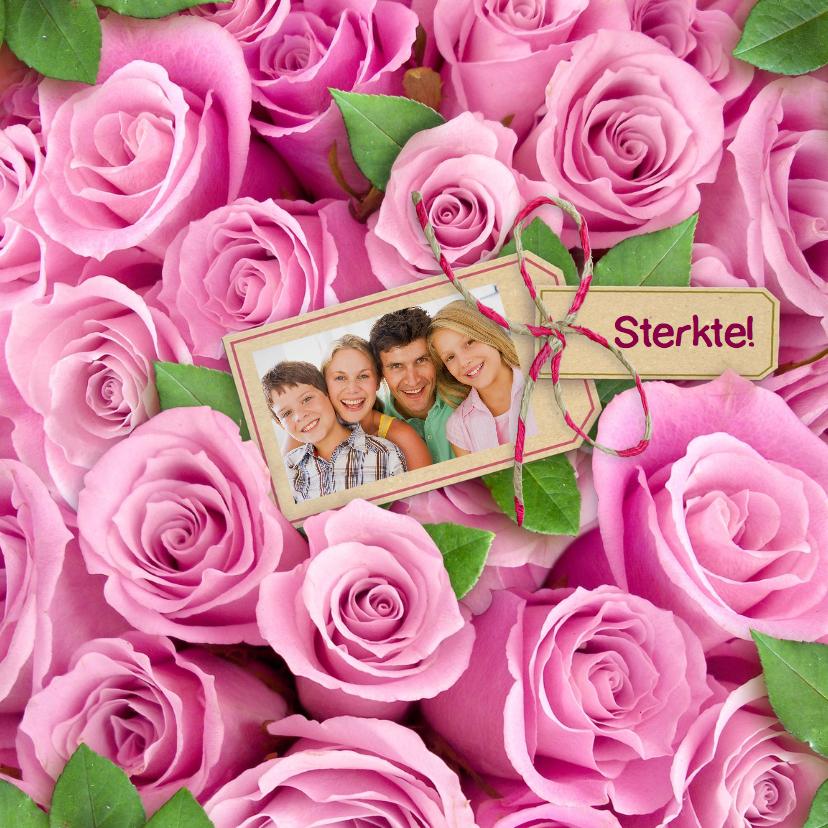 Sterkte kaarten - Mooie sterkte kaart met roze rozen en eigen foto