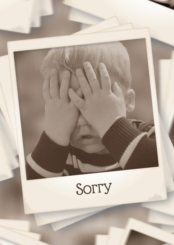 Sterkte kaarten - Polaroidfotokaart sorry - BK