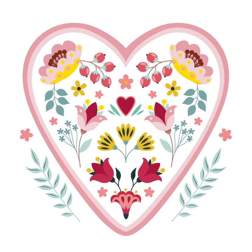 Sterkte kaarten - Sterkte en medeleven wenskaart met hart en bloemen