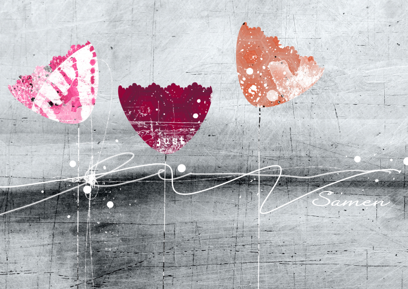 Sterkte kaarten - Sterkte kaart drie tulpen abstract