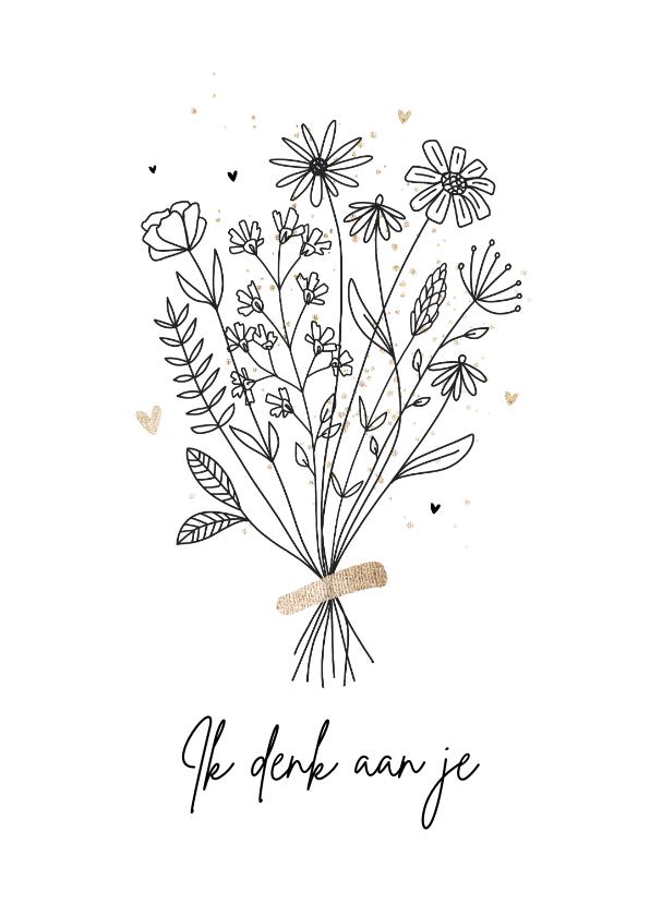 Sterkte kaarten - Sterkte kaart ik denk aan je bloemen hartjes goud