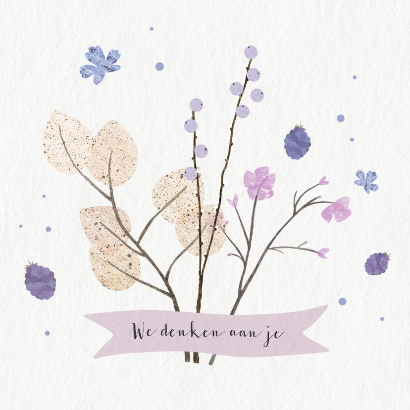 Sterkte kaarten - Sterkte kaart met paarse bloemen en takjes