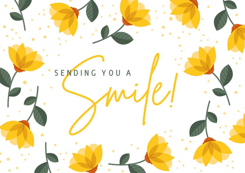 Sterkte kaarten - Sterkte kaart sending you a smile met vrolijke gele bloemen