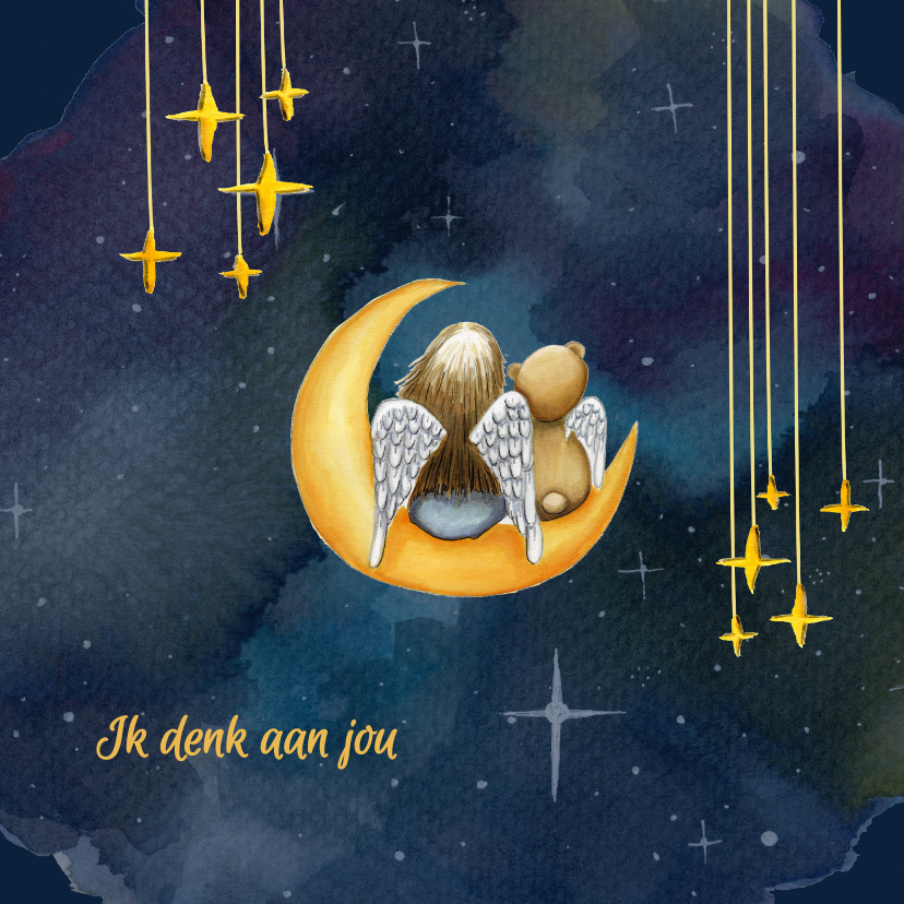 Sterkte kaarten - Sterkte kaarten meisje en beer op maan
