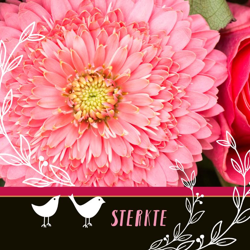 Sterkte kaarten - Sterkte Roze bloemen