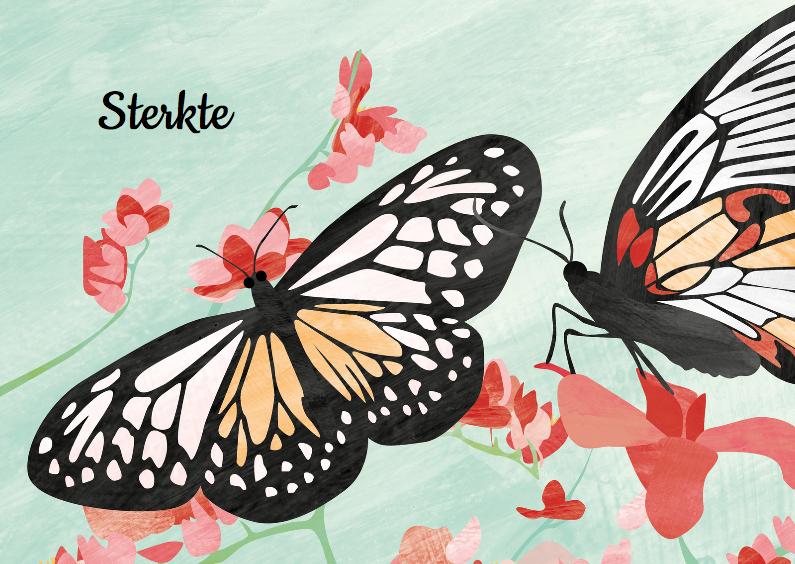 Sterkte kaarten - Sterkte - vlinders en bloemen