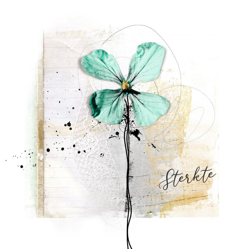 Sterkte kaarten - Sterktekaart aqua bloem creatief