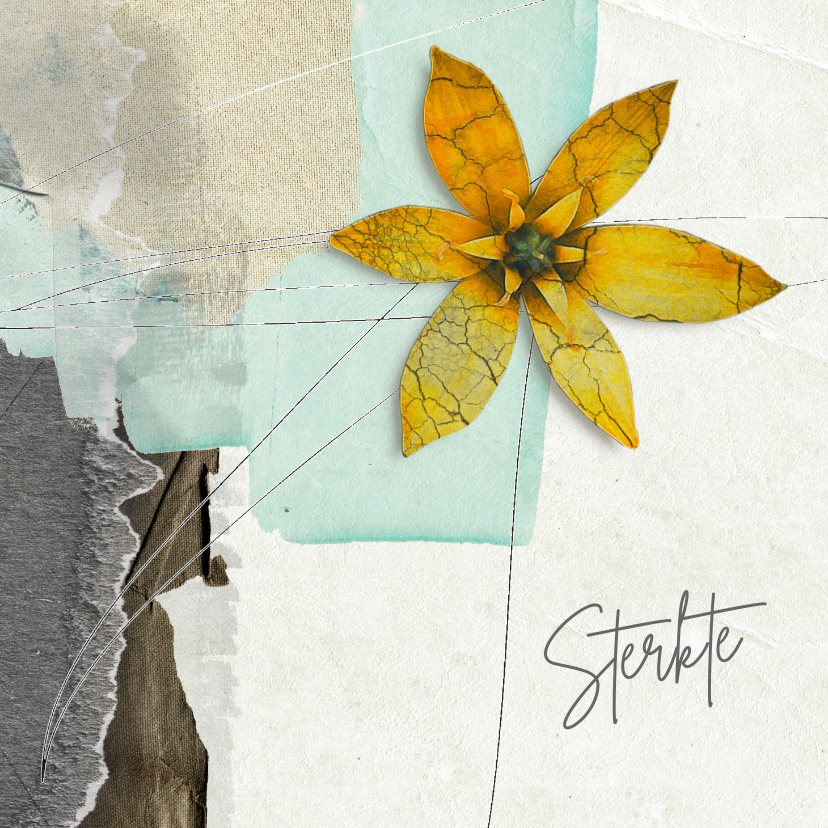 Sterkte kaarten - Sterktekaart gele bloem op vakken