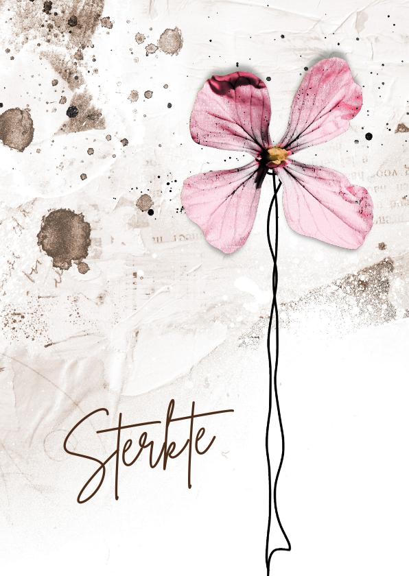 Sterkte kaarten - Sterktekaart grunge roze bloem