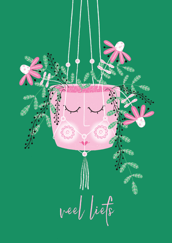 Sterkte kaarten - Sterktekaart hangplant roze bloemen