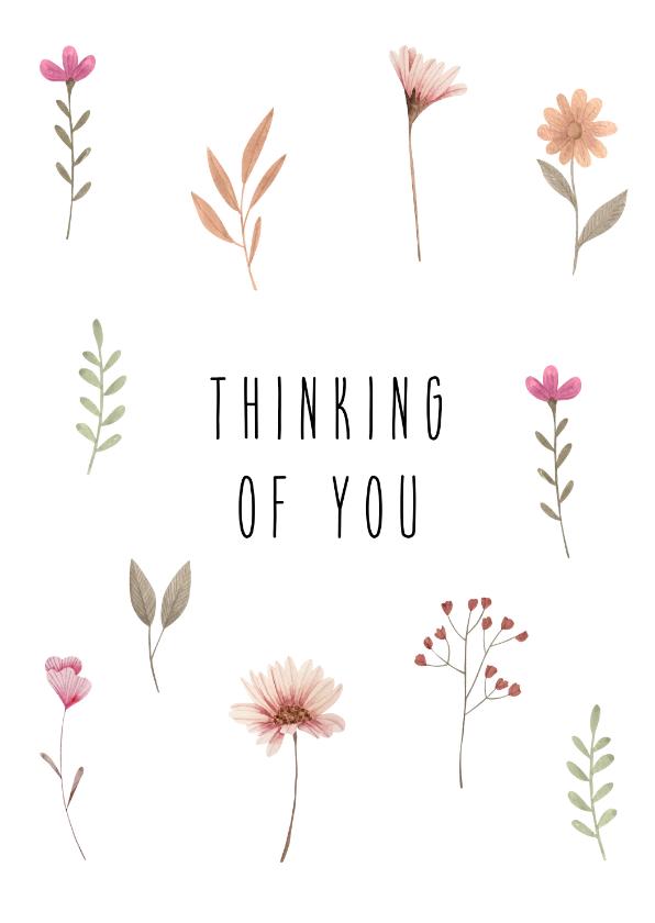 Sterkte kaarten - Sterktekaart met waterverf bloemen