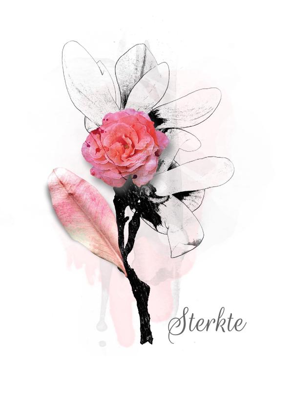Sterkte kaarten - Sterktekaart pink bloem blad