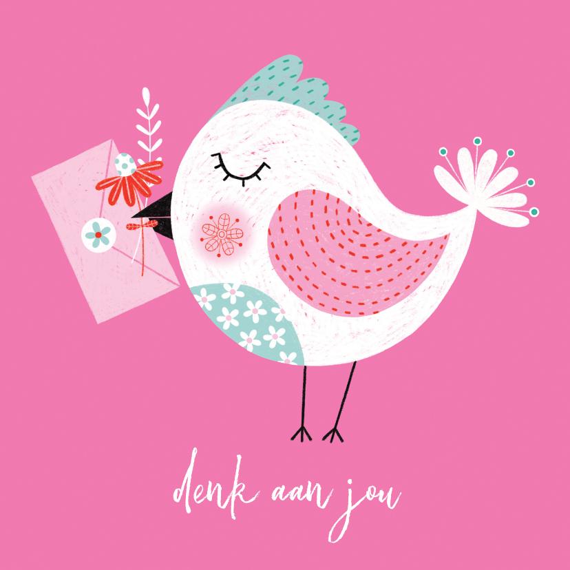 Sterkte kaarten - Sterktekaart vogel bloem roze