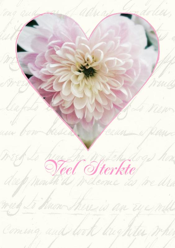 Sterkte kaarten - Veel sterkte roze bloem in hart