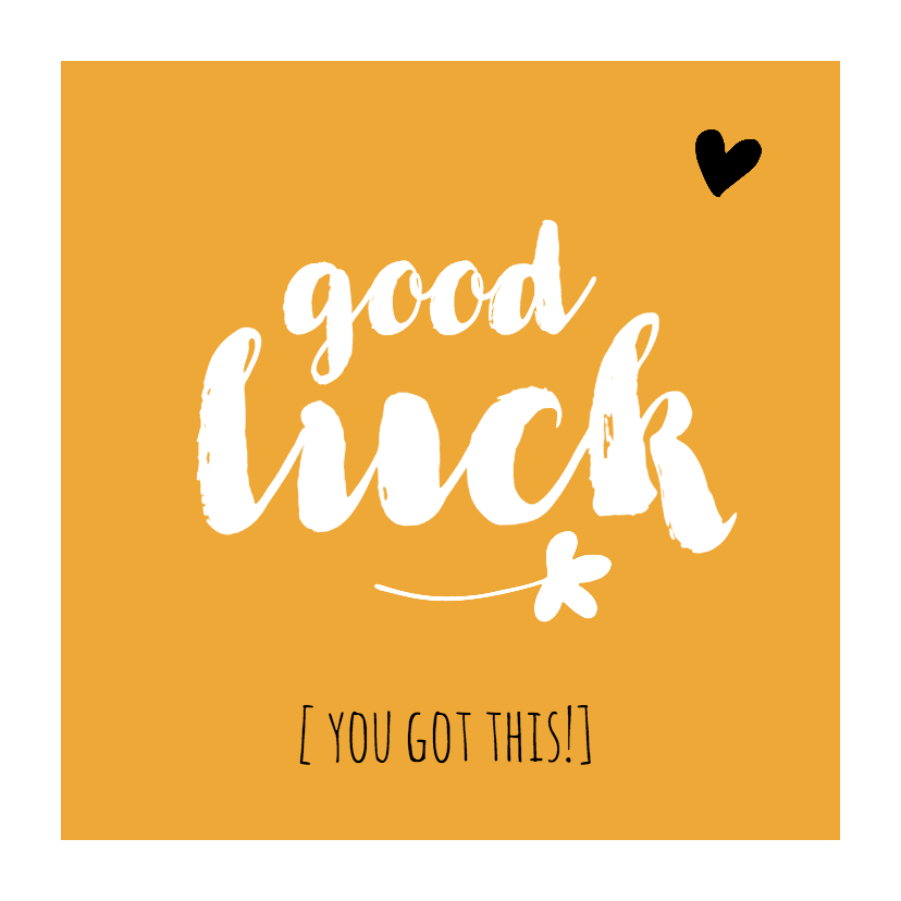 Succes kaarten - Succes - good luck okergeel