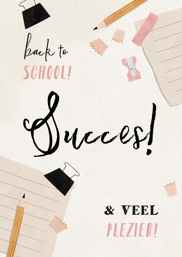 Succes kaarten - Succes kaart met potlood, schriftje en puntenslijper