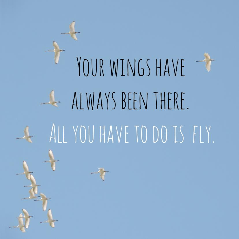 Succes kaarten - Succes kaart vogels fly