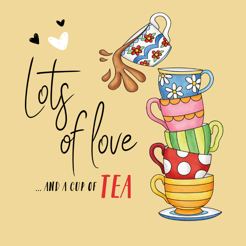 Succes kaarten - Succes Lots of love and a cup of tea