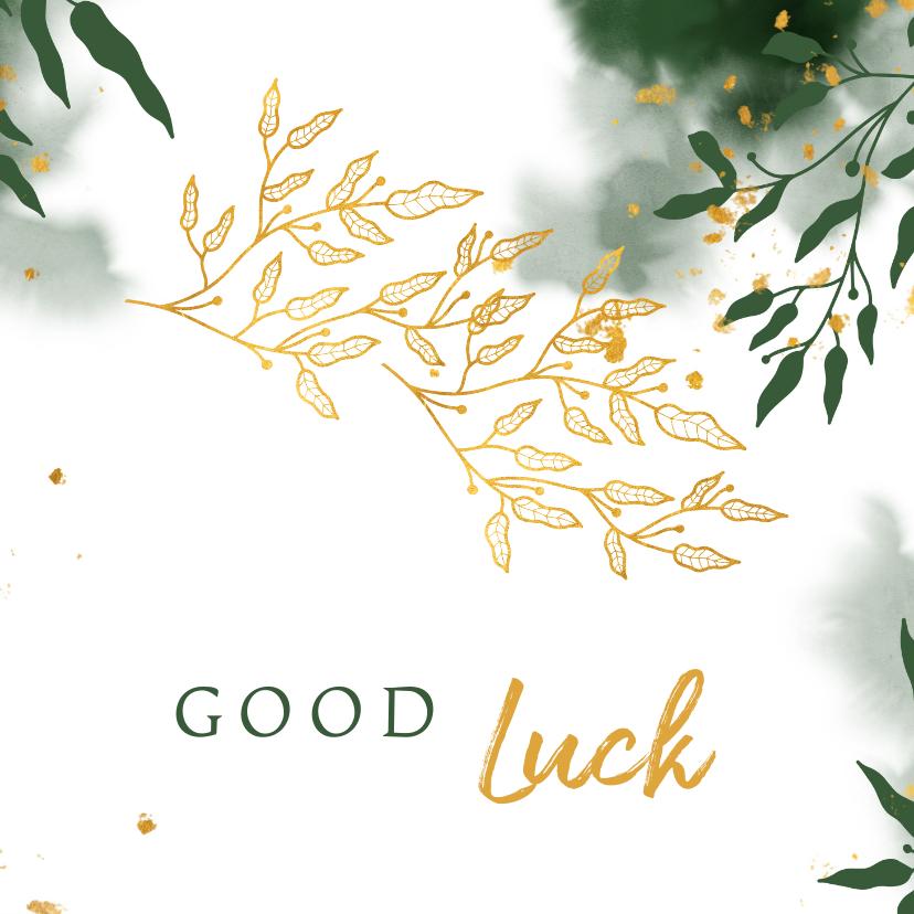 Succes kaarten - Succes stijlvol met gouden bladeren en waterverf