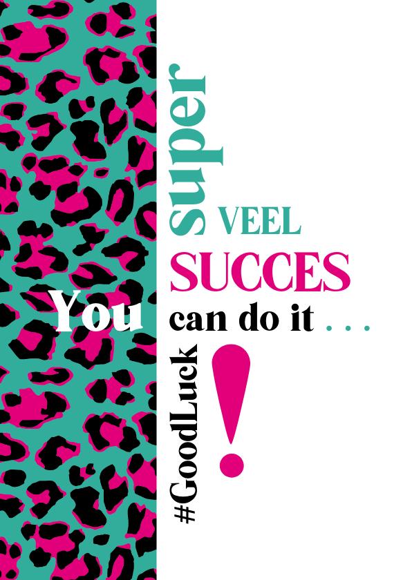 Succes kaarten - Succes Typografisch met luipaardprint